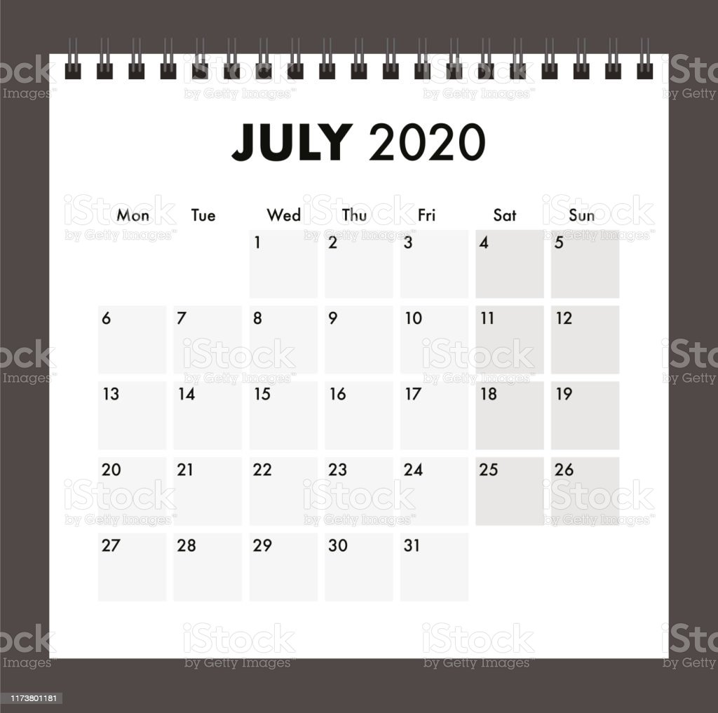 Calendrier Juillet2020.Calendrier De Juillet 2020 Avec Bande De Fil Vecteurs Libres