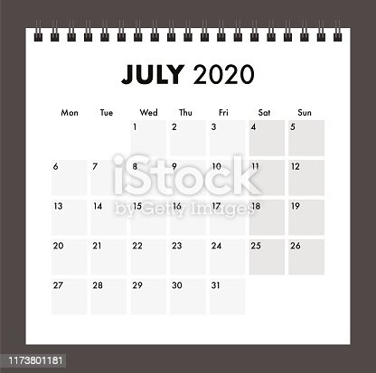 July 2020 calendar with wire band