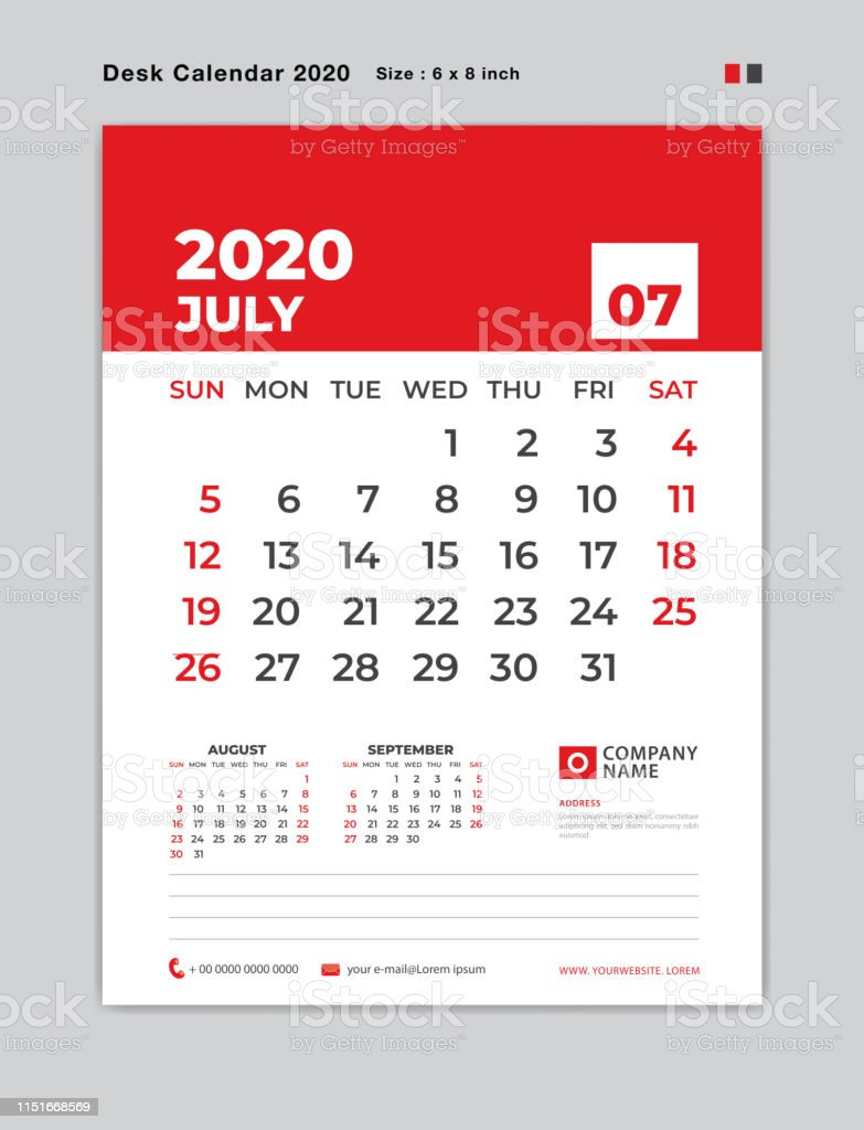 July Calendar 2020.July 2020 Template Desk Calendar For 2020 Year Week Start On Sunday