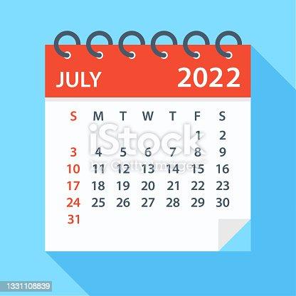 istock July 2022 - Calendar. Week starts on Sunday 1331108839
