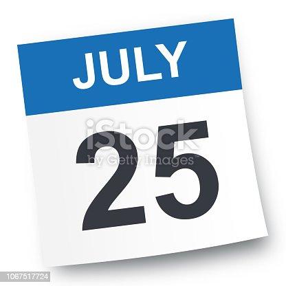 July 25 - Calendar Icon - Vector Illustration