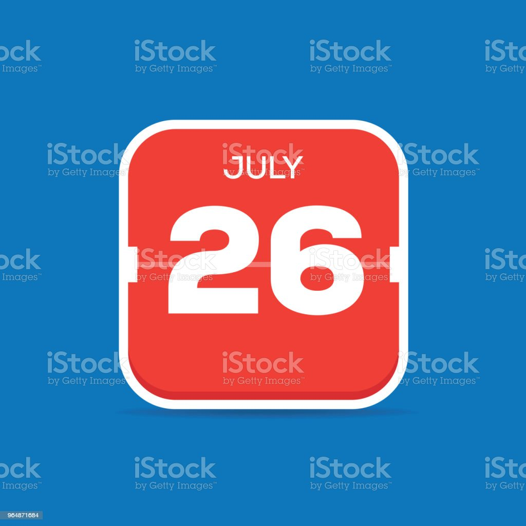 July 26 Calendar Flat Icon royalty-free july 26 calendar flat icon stock vector art & more images of art