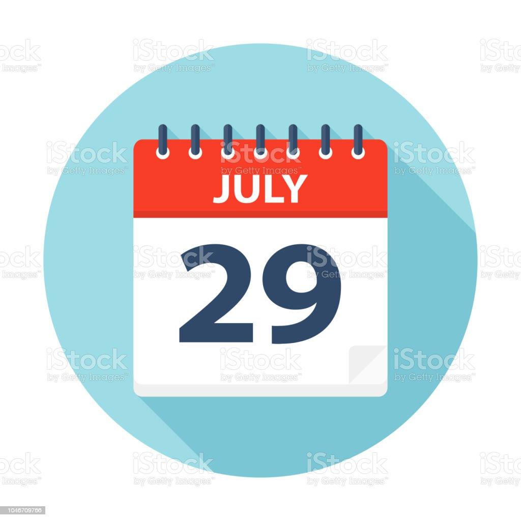 Calendario Vectores.Ilustracion De 29 De Julio Icono De Calendario Y Mas