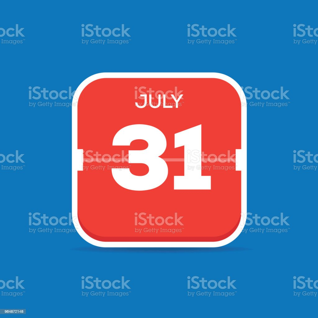 July 31 Calendar Flat Icon royalty-free july 31 calendar flat icon stock vector art & more images of art