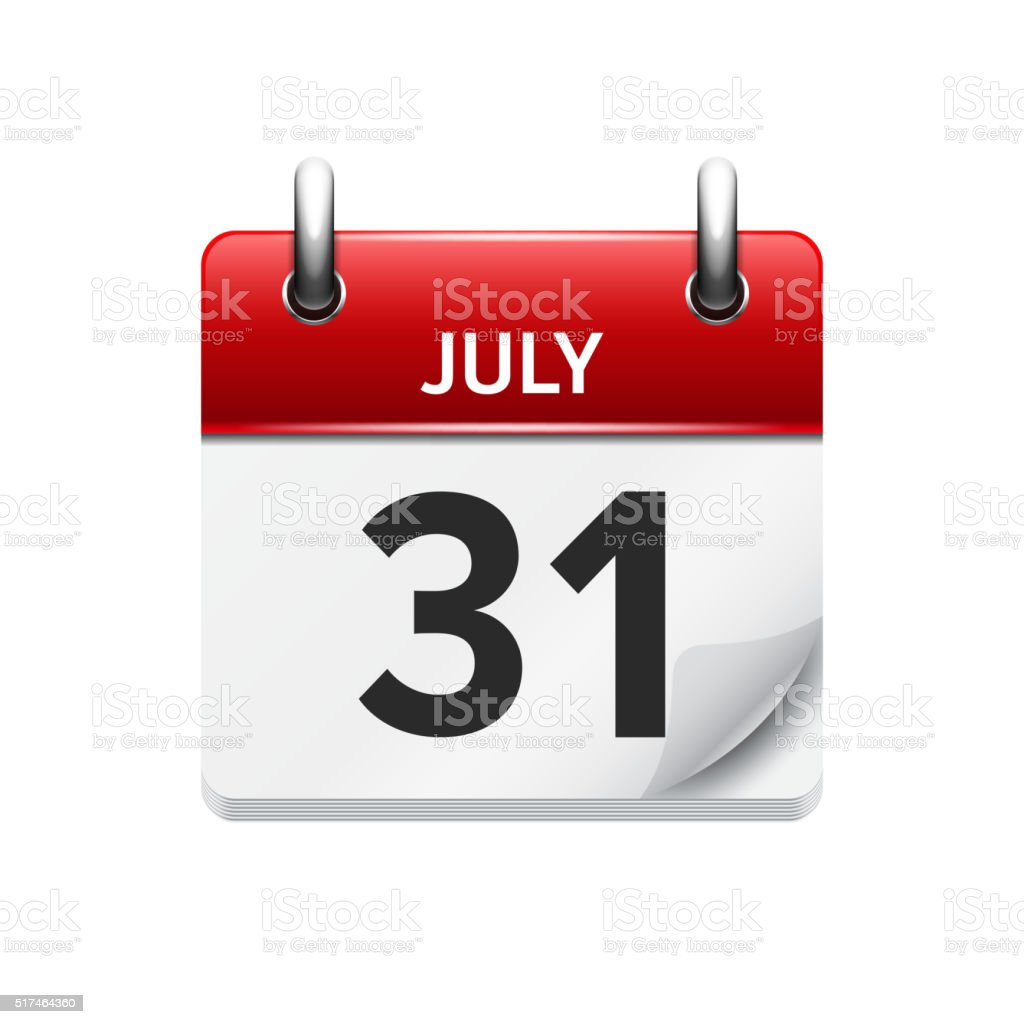 July  31. Vector flat daily calendar icon. Date and time vector art illustration