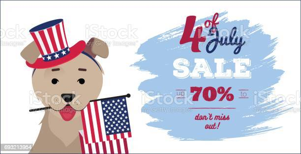 July 4 sale poster dog in hat holding usa flag with mouth vector id693213954?b=1&k=6&m=693213954&s=612x612&h=dzh9ip3foq95lrh8b 5r422qcq 8fxnce67ixugbptk=