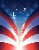 Independence Day background, stars and stripes. Separate layers for stars and firecrackers.