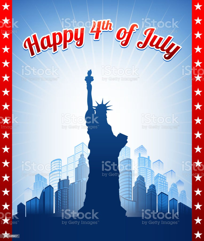 July 4th Background with Statue of Liberty royalty-free stock vector art