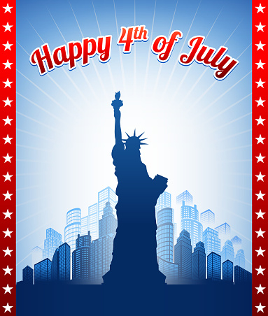 July 4th Background with Statue of Liberty