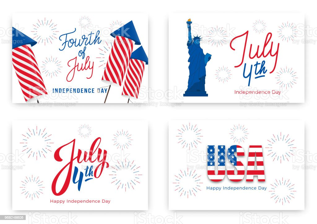 July 4th. Holiday banners for USA Independence Day. Set of modern cards, invitations, web banners for July Fourth vector art illustration