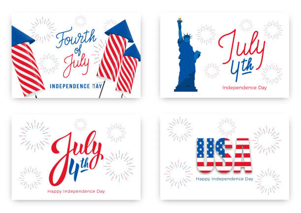 July 4th. Holiday banners for USA Independence Day. Set of modern cards, invitations, web banners for July Fourth July 4th. Holiday banners for USA Independence Day. Set of modern cards, invitations, web banners for July Fourth. fireworks stock illustrations