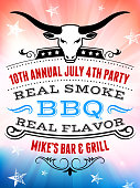 July 4th Independence Day Barbecue and party Invitation poster