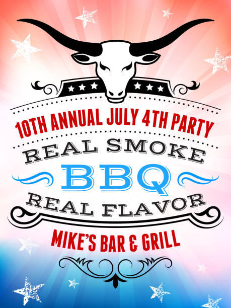 july 4th independence day barbecue and party invitation poster - small business saturday 幅插畫檔、美工圖案、卡通及圖標