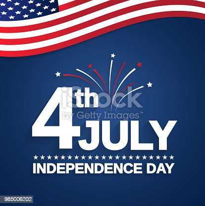 July 4th. Independence Day card with USA flag. Vector illustration. EPS10