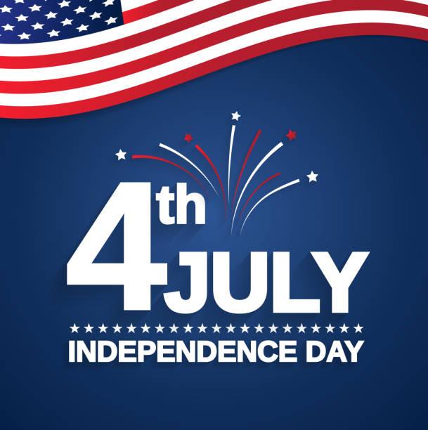 7月4日。獨立日卡與美國旗子。向量插圖。 - happy 4th of july 幅插畫檔、美工圖案、卡通及圖標