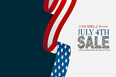 istock July 4th sale banner background. Waving United States of America national flag ribbon. USA independence day celebration. Realistic vector illustration. 1251772730