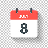 July 8. Calendar Icon with long shadow in a Flat Design style. Daily calendar isolated on blank background for your own design. Vector Illustration (EPS10, well layered and grouped). Easy to edit, manipulate, resize or colorize.