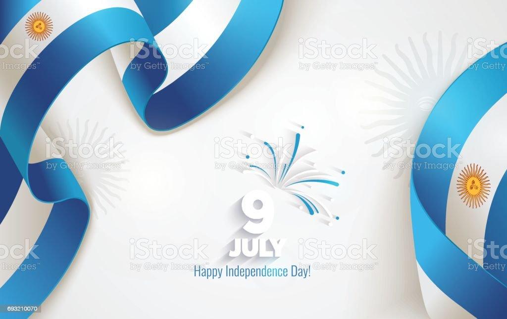 9 July, Argentina Independence Day background vector art illustration