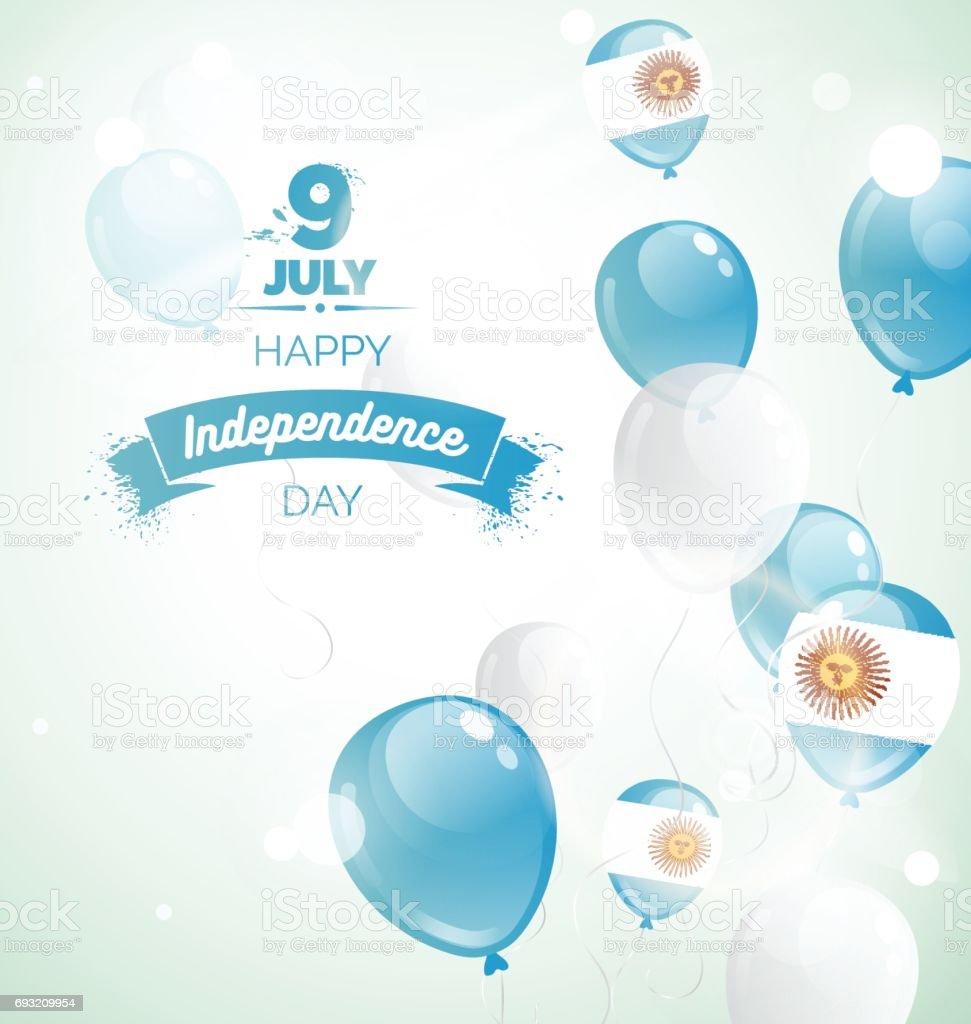 7 月 9 日、アルゼンチン独立記念日のグリーティング カード。 ベクターアートイラスト