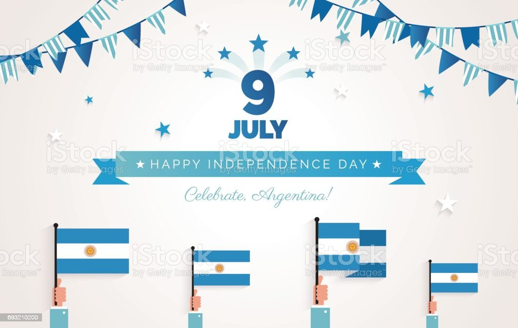 9 July, Argentina Independence Day greeting card. vector art illustration