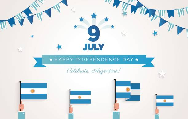 9 july, argentina independence day greeting card. - argentina flag stock illustrations, clip art, cartoons, & icons
