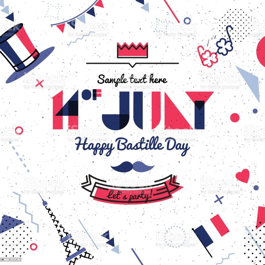 14 July Bastille day abstract background in 80s style. vector art illustration