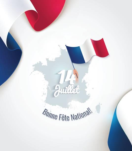 ilustraciones, imágenes clip art, dibujos animados e iconos de stock de volante de 14 de julio día de la bastilla, pancarta o póster. - bandera francesa