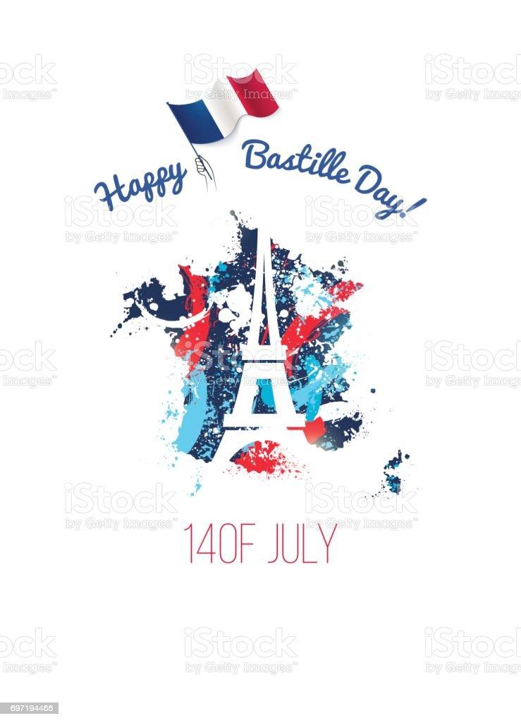 Dépliant fête nationale 14 juillet, bannière ou une affiche. - Illustration vectorielle