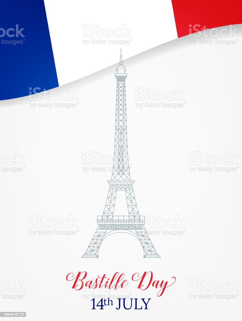 14 July. Bastille Day. French Eiffel Tower and flag. vector art illustration