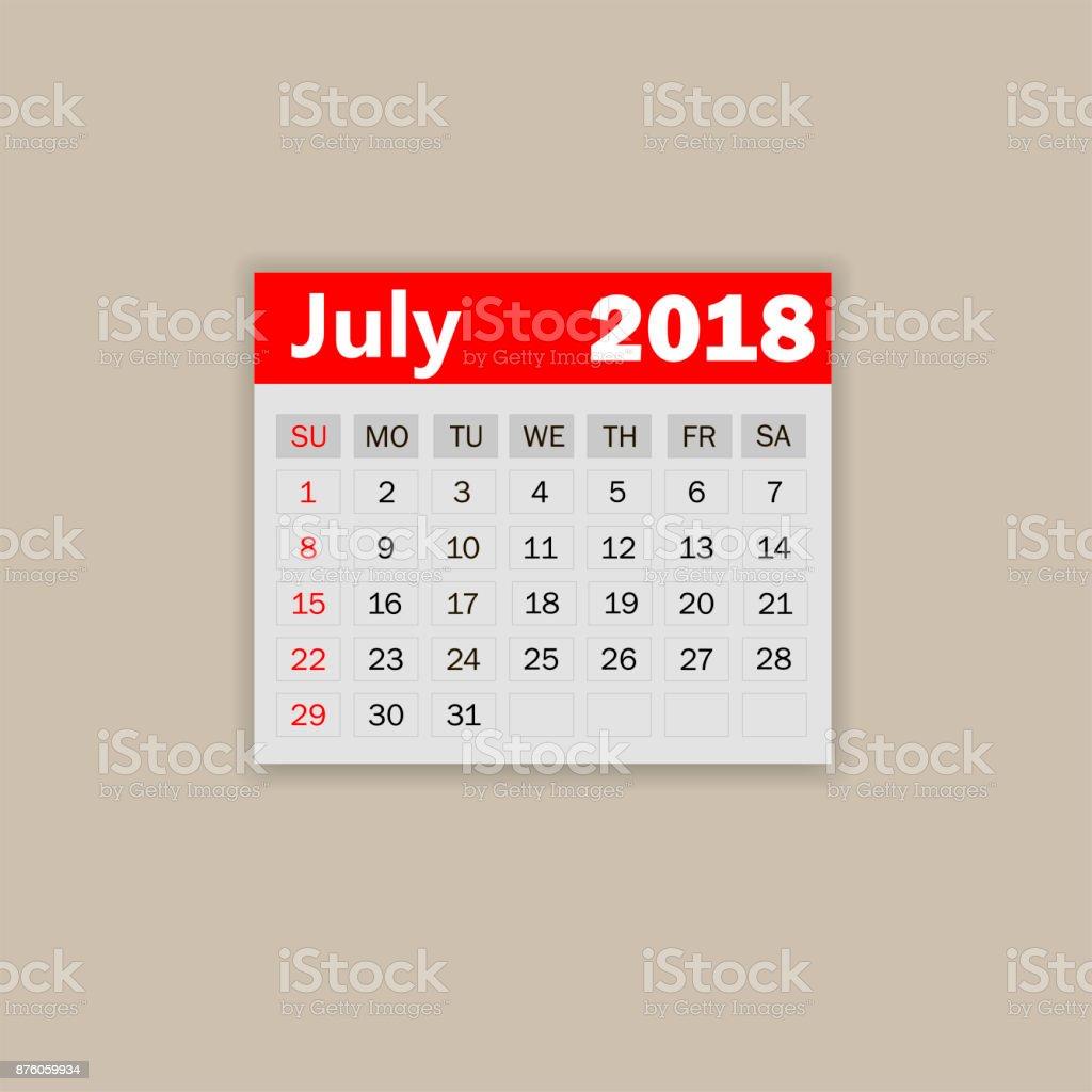 7 月カレンダー 2018 週は日曜日に開始します1 ヶ月 2018 年のビジネス