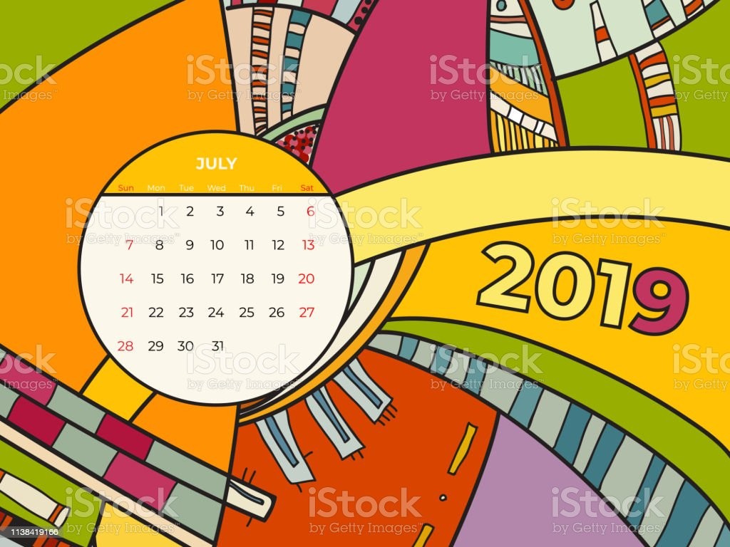 Calendario Julio 2019 Vector.2019 July Calendar Abstract Contemporary Art Vector Desk