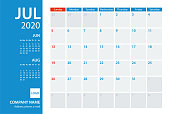 2020 July` Calendar Planner Vector Template. Week starts Sunday