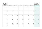 2017 July calendar (or desk planner), week start on Monday
