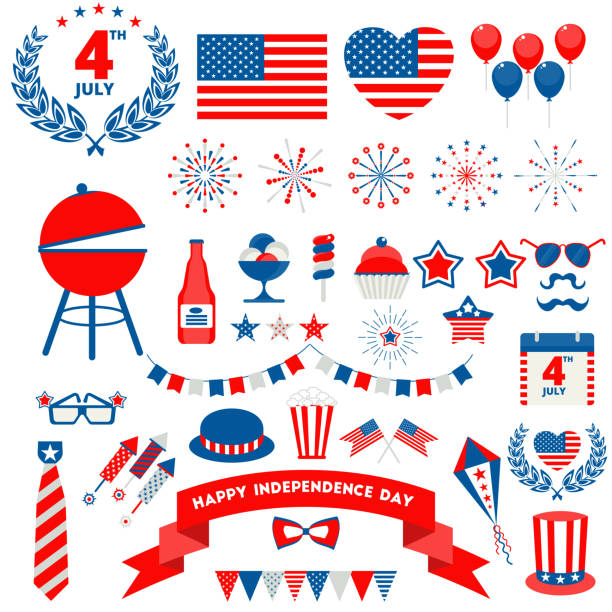 july fourth badge icons set vector art illustration