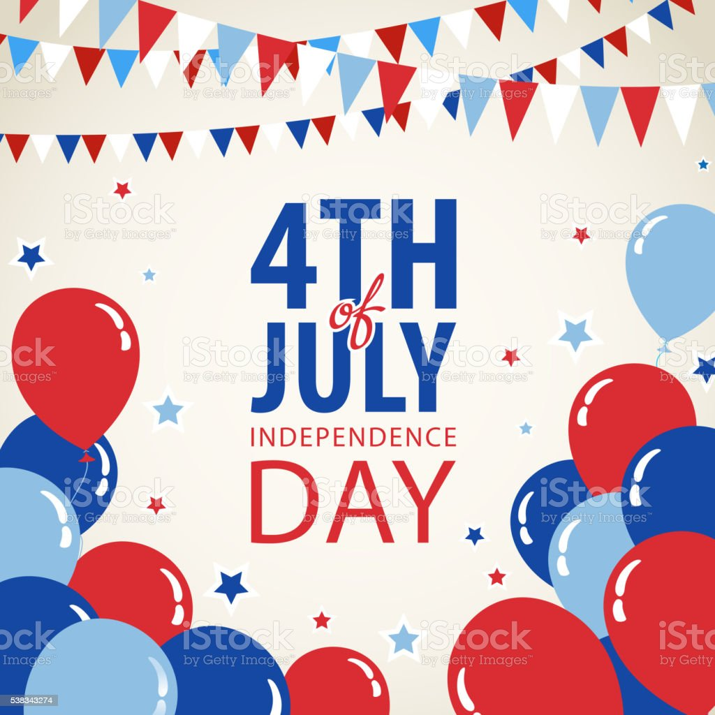 July Fourth Invitation Fourth of July independence day background. American Culture stock vector