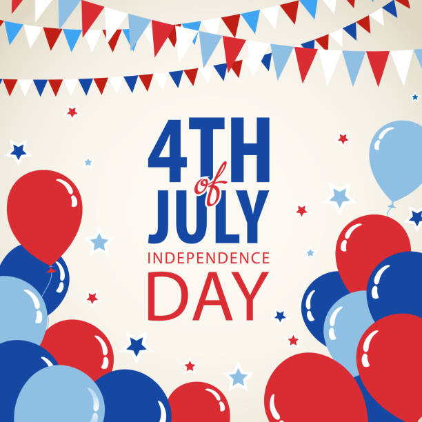 July Fourth Invitation Fourth of July independence day background. political party stock illustrations