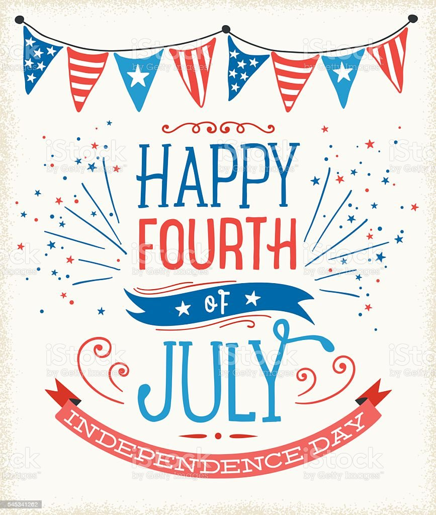 July Fourth Sign vector art illustration