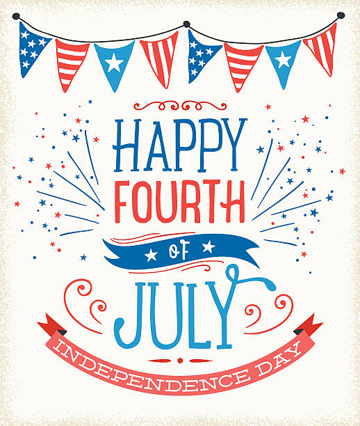 July Fourth Sign Fourth of July greetings.  Global colors used, hi res jpeg included.   Scroll down to see more of my illustrations linked below. independence day illustrations stock illustrations