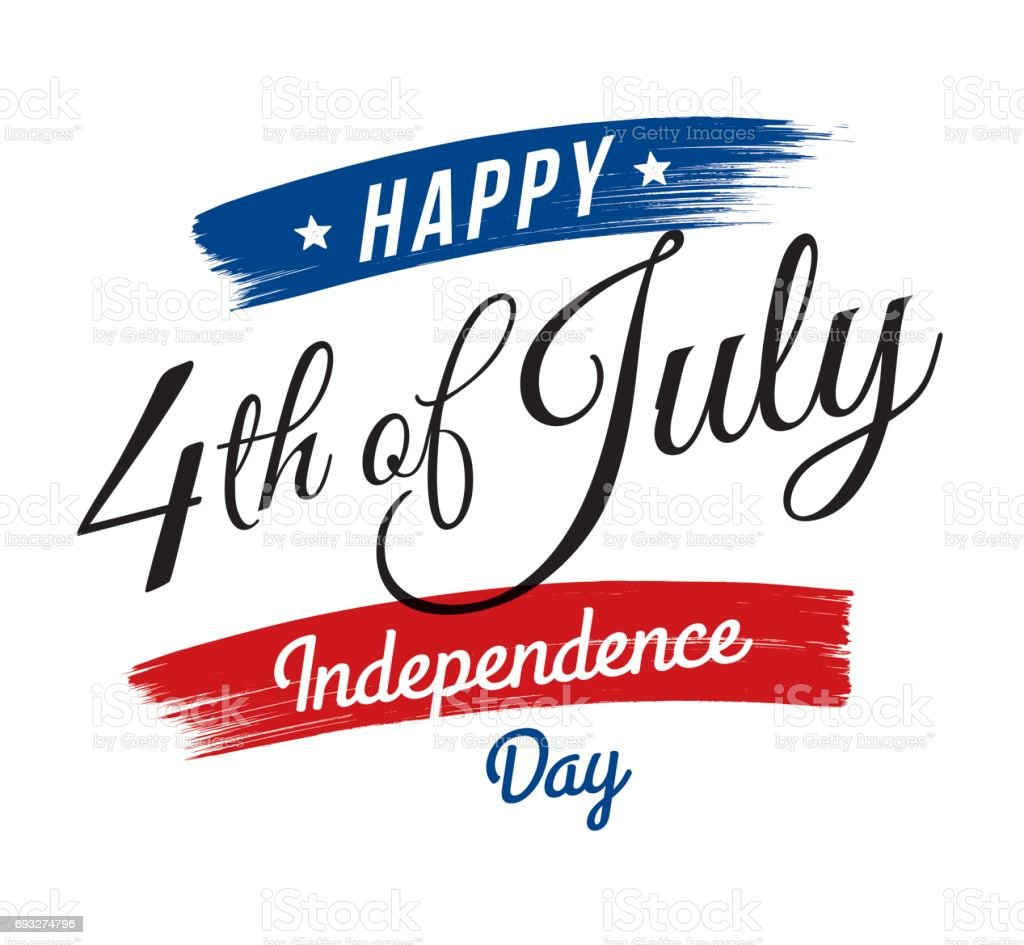 July fourth, United Stated independence day greeting vector art illustration
