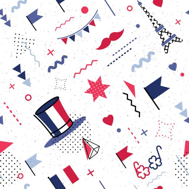 14 July Happy Bastille Day abstract background in 80s retro style. 14 July Happy Bastille Day abstract background in 80s retro style. Seamless pattern for posers and cards. Colors of france national flag. Vector illustration national holiday stock illustrations