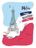 14 july Happy Bastille Day flyer, banner or poster. Holiday background with eiffel tower sketch and french flag background. Vector hand drawn illustration