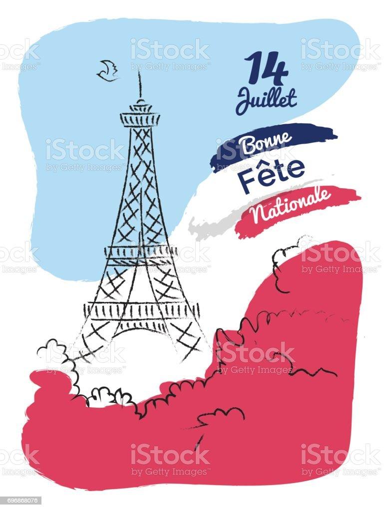 dépliant de bonne fête de la Bastille 14 juillet, bannière ou une affiche. - Illustration vectorielle