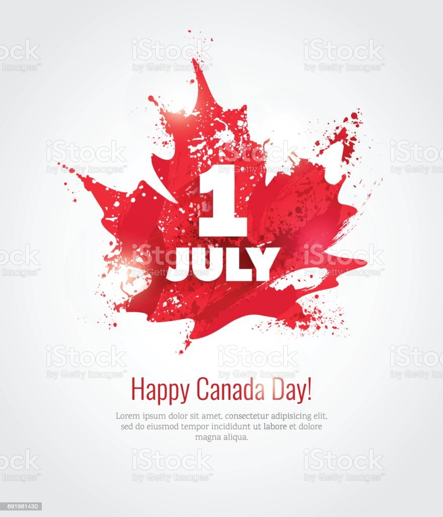 1 July. Happy Canada Day greeting card. 1 July. Happy Canada Day greeting card. Celebration background with maple silhouette and watercolor splatters. Vector illustration Backgrounds stock vector