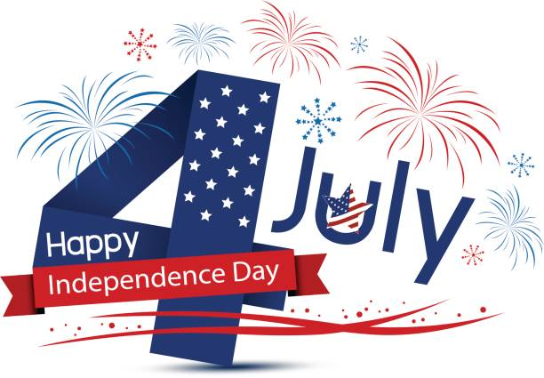 USA 4 july happy independence day design on white background vector art illustration