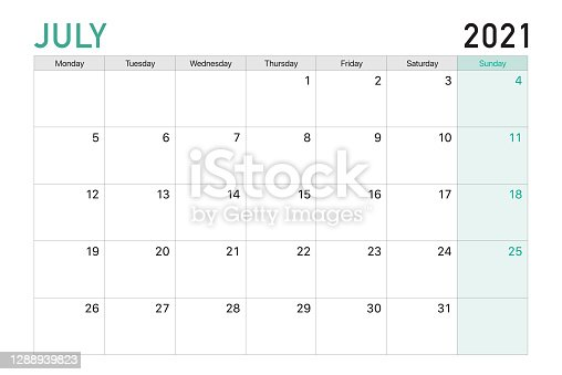 istock 2021 July illustration vector desk calendar weeks start on Monday in light green and white theme 1288939823