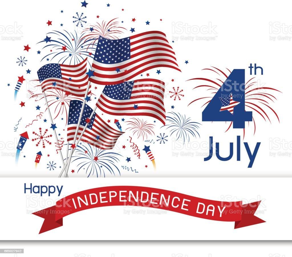 USA 4 july independence day design on white background vector art illustration