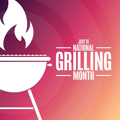 July is National Grilling Month. Holiday concept. Template for background, banner, card, poster with text inscription. Vector EPS10 illustration