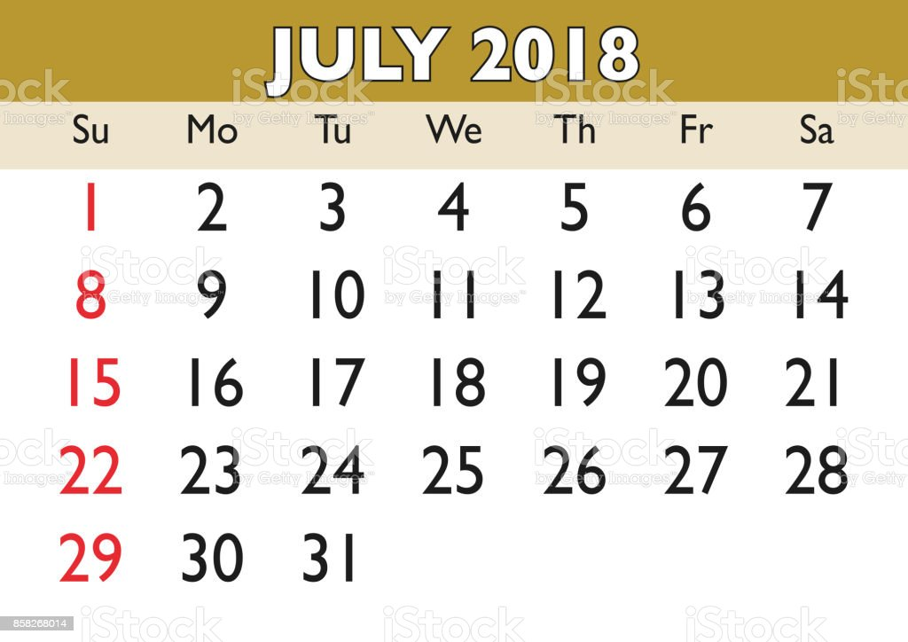 Julio Calendario.Ilustracion De Mes De Julio Del Calendario 2018 Ingles Usa Y Mas