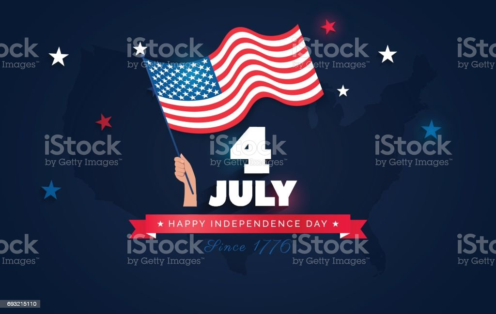 July Usa Independence Day Flyer Banner Or Poster Stock Vector Art