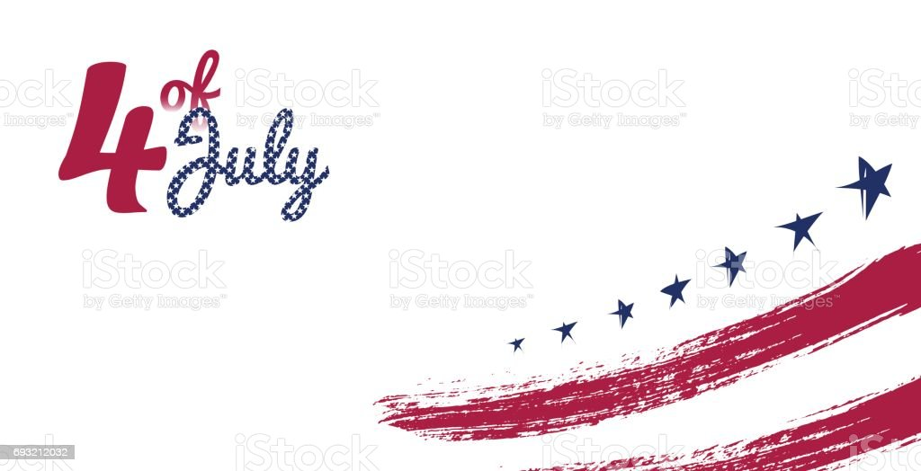 4 July, USA Independence Day greeting card. vector art illustration